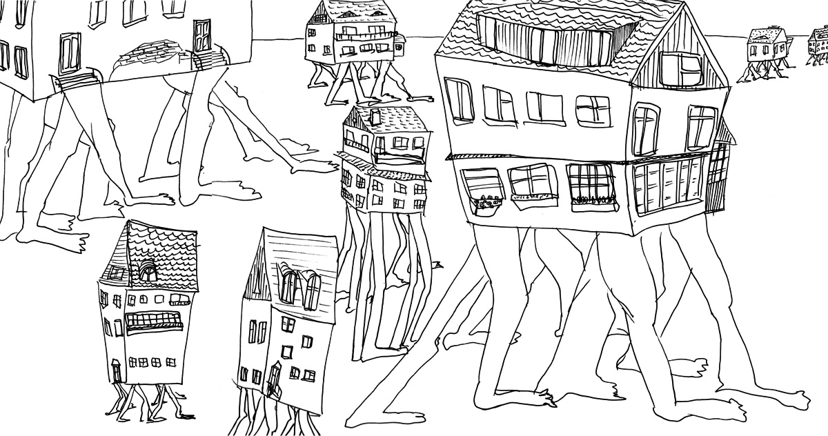 Дома на ногах. Рисунок Константина
