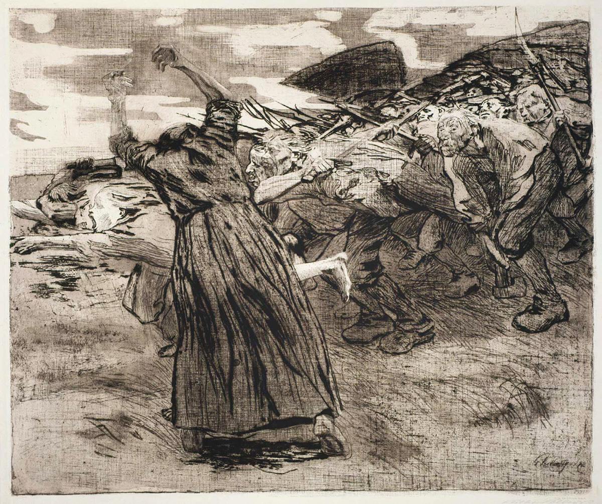 Кете Кольвиц. «На штурм». Из серии «Крестьянская война», 1903, офорт