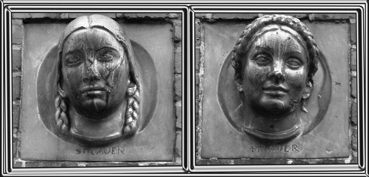 Станислаус Кауэр. Головы двух юных девушек. Керамика, 1922