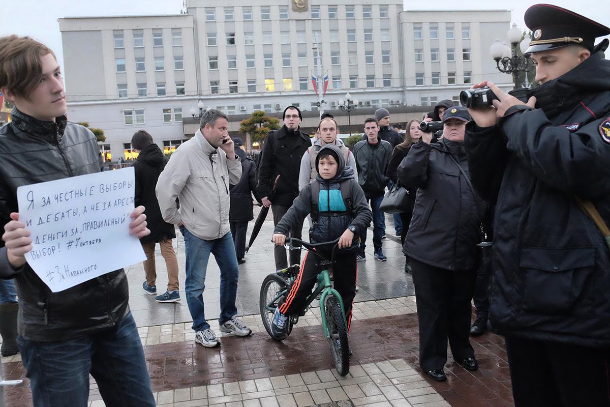 Протестная акция #ЗаНавального на площади Победы в Калининграде. PREGEL.INFO